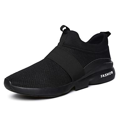 Homens sapatos Tule Primavera Outono Conforto Tênis Caminhada Cadarço para Atlético Branco Preto Vermelho