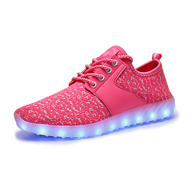 Mulheres Sapatos Tule Primavera Outono Tênis com LED Tênis Caminhada Sem Salto para Casual Ao ar livre Fúcsia Rosa claro Branco/Preto