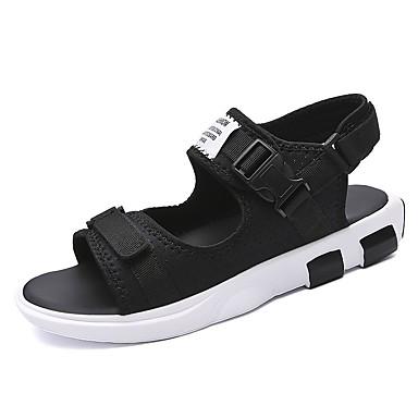Miehet kengät PU Kesä Syksy Comfort Sandaalit varten Kausaliteetti Musta Sininen Ruudun väri