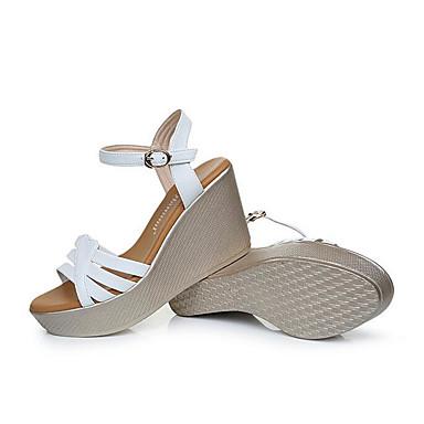 Mulheres Sapatos Couro Verão Sandálias Salto Plataforma Peep Toe para Branco Verde