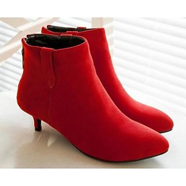 Naiset Kengät Mokkanahka Kevät Comfort Bootsit Käyttötarkoitus Kausaliteetti Musta Harmaa Punainen