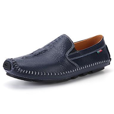 Homens sapatos Borracha Primavera/Outono Conforto Mocassins e Slip-Ons Caminhada para Ao ar livre Preto Marron Azul