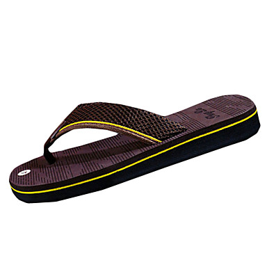 Homens sapatos Borracha Verão Conforto Chinelos e flip-flops para Ao ar livre Preto Marron