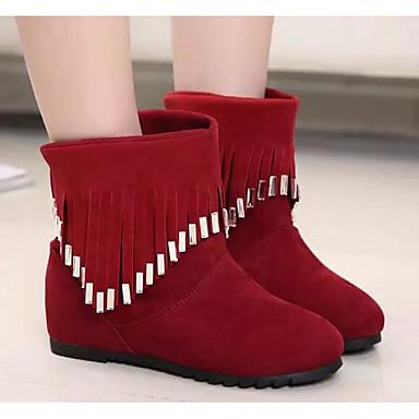 Naiset Bootsit Comfort Fleece Kevät Päivittäin Comfort Musta Punainen Tasapohja