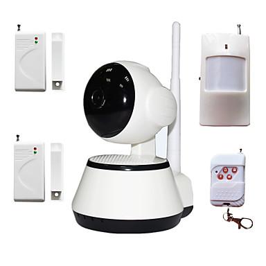 kablosuz alarm dedektörü ile H.264 1.0mp hd 720p IP kamera p2p pan ir kesim tf kartı wifi ağ IP güvenlik sistemi
