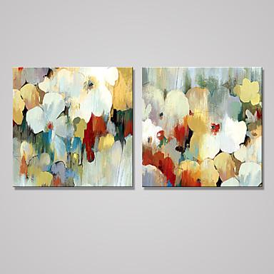 Aufgespannte Leinwandrucke Blumenmuster/Botanisch Modern,Zwei Panele Leinwand Quadratisch Druck-Kunst Wand Dekoration For Haus Dekoration