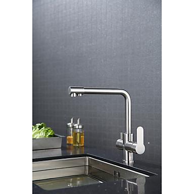 Torneira de Cozinha - Moderno / Contemporâneo Escovado Haste Móvel - Horizontal e Vertical Conjunto Central
