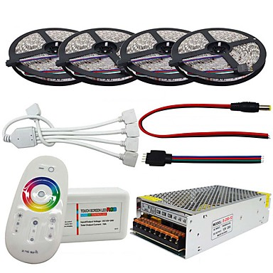 LED Strip Waterproof Set 5050 20M 4*5M 240W With 2.4G Touch Screen RF Remote Controller 12V 20A Power Adapter Kit