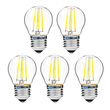BRELONG® 5pcs 4W 300lm E27 LED Filament Bulbs G45 4 LED Beads COB Dimmable Warm White White 200-240V