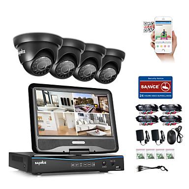 Sannce® 8ch 4pcs 720p sistema de segurança de vigilância à prova de intempéries 4in1 1080p lcd dvr monitor suportado tvi analógico ahd