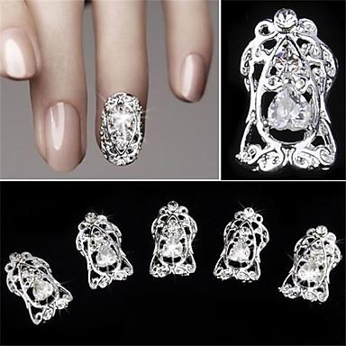 5 ks dutý diamantový zirkon falešný nehtový náplast 3d dekorace na nehty