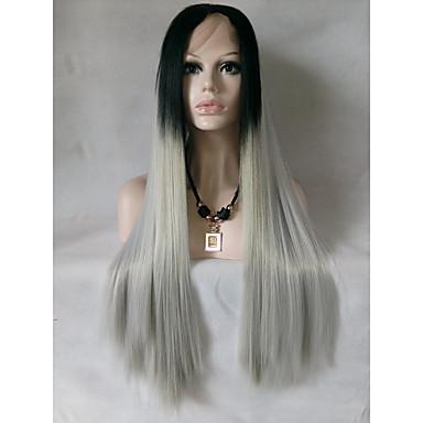 Cabelo Sintético perucas Reto Peruca Natural Médio Longo Preto/Branco