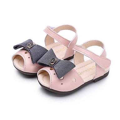 Mädchen Schuhe Kunstleder Frühling Herbst Komfort Lauflern Flache Schuhe Walking Klettverschluss Für Normal Silber Rot Rosa
