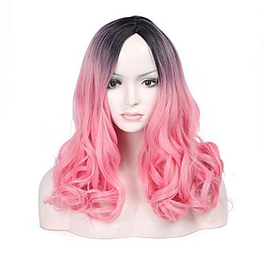 Damen Synthetische Perücken Mittel Wellen Rosa Natürliche Perücke Kostümperücke