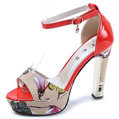 Mulheres Sapatos Couro Ecológico Verão Conforto Sandálias Salto Robusto para Ao ar livre Branco Preto Vermelho