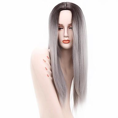 Umělé vlasy paruky Rovné Afroamerická paruka Ombre vlasy Přírodní paruka Dlouhý Černá/Bílá