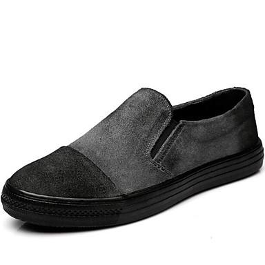 Herren Loafers & Slip-On Komfort Frühling Leder Schweineleder Normal Schwarz Grau Farbbildschirm Flach