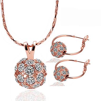 Mulheres Conjunto de jóias - Strass, Rosa Folheado a Ouro Bola Original Incluir Dourado Para Festa / Aniversário / O negócio