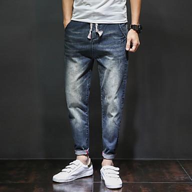Pánské Jednoduchý Mikro elastické Harémové Džíny Kalhoty Volné Harémové Mid Rise Jednobarevné