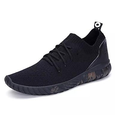 Homens sapatos Couro Ecológico Primavera / Outono Conforto Tênis Caminhada Preto / Cinzento / Branco / Preto