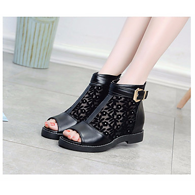 Naiset Sandaalit Kevät PU Musta Tasapohja