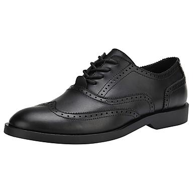 Homens sapatos Couro Primavera Verão Sapatos formais Oxfords Cadarço para Casamento Escritório e Carreira Festas & Noite Preto Marron