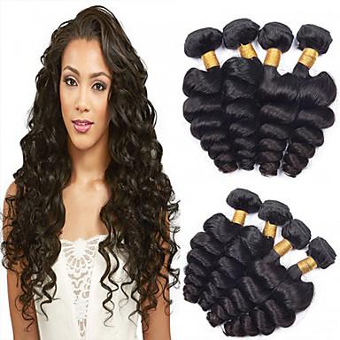 baratos Extensões de Cabelo Natural-4 pacotes Cabelo Brasileiro Ondulação Larga Cabelo Virgem Cabelo Humano Ondulado Tramas de cabelo humano Extensões de cabelo humano / Reto