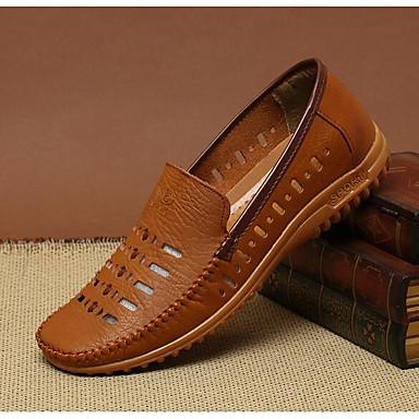 Miehet kengät Nahka Kevät Comfort Lenkkitossut Käyttötarkoitus Kausaliteetti Valkoinen Musta Ruskea