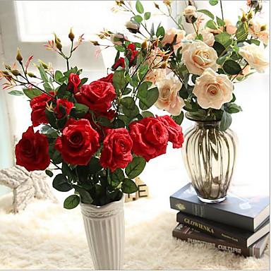Flores artificiais 5 Ramo Estilo Moderno Rosas Flor de Mesa