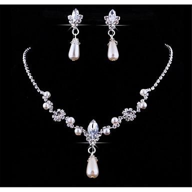 Damen Schmuckset Strass Künstliche Perle Strass Aleación Tropfen Anhänger Hochzeit Party Jahrestag Geburtstag 1 Halskette 1 Paar Ohrringe