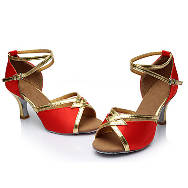 Mulheres Latina Seda Sandália Salto Interior Salto Personalizado Vermelho Personalizável