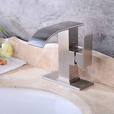 Moderna Arte Deco/Retro Modern Conjunto Central Válvula Cerâmica Monocomando Dois Buracos Escovado, Torneira pia do banheiro