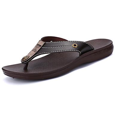Homens sapatos Couro Ecológico Verão Conforto Chinelos e flip-flops Caminhada Tachas para Casual Preto Marron