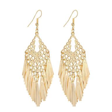 Mulheres Brincos Compridos Jóias Pingente Borla Vintage Boêmio Elegant Fashion Estilo simples Prata Chapeada Chapeado Dourado Liga Forma