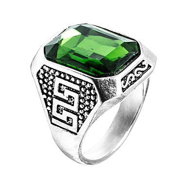 voordelige Herensieraden-Heren Ring Zegelring Synthetische Smaragd Groen Roestvast staal Zirkonia Smaragd Uniek ontwerp Modieus Euramerican Bruiloft Speciale gelegenheden  Sieraden patiencespel Emerald Cut High School Rings