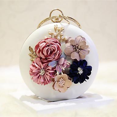 للمرأة أكياس PU حقيبة الكتف زهور سادة أبيض / شاحب اللون من القرنفل