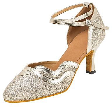 Pentru femei Pantofi Moderni Sandale / Călcâi Sclipici Strălucitor / Cataramă / Dantelă Toc Personalizat Personalizabili Pantofi de dans Auriu / Negru / Profesional
