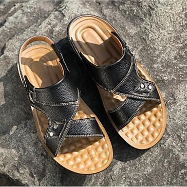 Miehet Sandaalit Comfort Kevät Nahka Kausaliteetti Musta Tumman ruskea Tasapohja