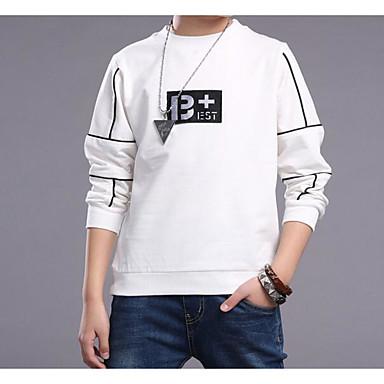 Para Meninos Côr Sólida Camiseta, Algodão Primavera / Outono Manga Longa Branco Preto