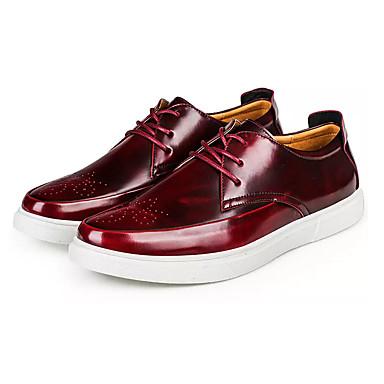 Homens sapatos Couro Ecológico Primavera Outono Tênis Cadarço para Preto Vinho
