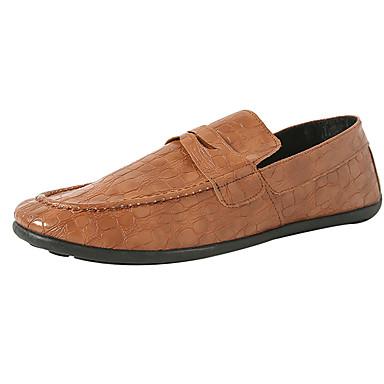 Miesten kengät PU Kevät Syksy Comfort Mokkasiinit varten Kausaliteetti Musta Sininen Vaalean ruskea