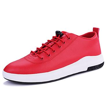 Homens sapatos Couro Ecológico Primavera Outono Conforto Tênis Cadarço para Casual Preto Azul Marinho Vermelho
