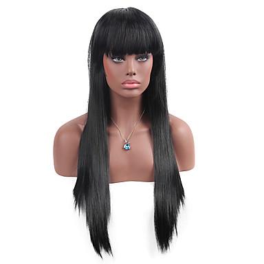 Perucas sintéticas Liso Com Franjas Densidade Sem Touca Mulheres Preta Peruca de carnaval Peruca de Halloween Peruca Natural Longo Muito