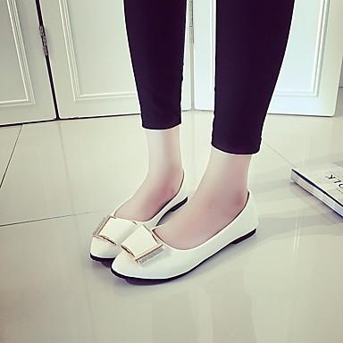 Naiset Sandaalit Comfort Kevät PU Kausaliteetti Valkoinen Musta Pinkki Tasapohja