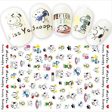 1pcs fashion nail art diy beauty cartoon 3d stickers lovely cartoon decoration cute snoopy funny expression design f108