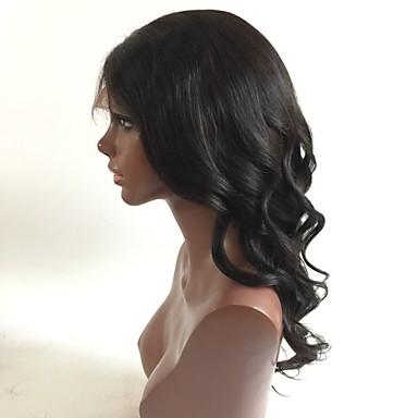 Echthaar Spitzenfront Perücke Lose gewellt 130% Dichte 100 % von Hand geknüpft Afro-amerikanische Perücke Natürlicher Haaransatz Kurz