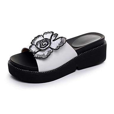 Naiset Kengät Nahka Kesä Comfort Sandaalit Kiilakantapää Avokärkiset korkokengät varten Kausaliteetti Valkoinen Punainen