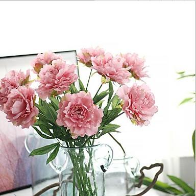 10 Větev Hedvábí Pivoňky Umělé květiny