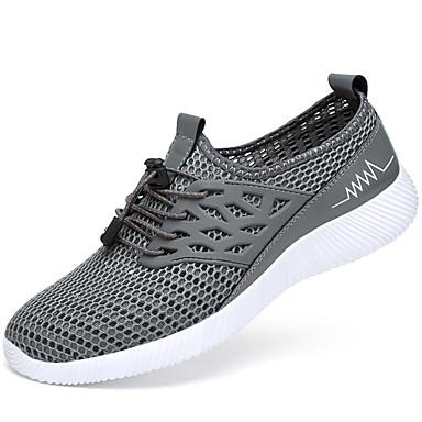 Homens sapatos Couro Ecológico Primavera Verão Conforto Tênis Caminhada para Casual Preto Cinzento Azul