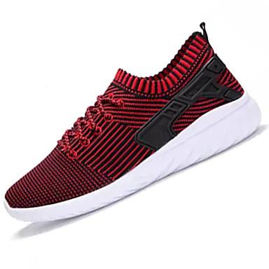 Homens sapatos Tule Primavera Outono Conforto Tênis Cadarço para Casual Preto Vermelho Azul